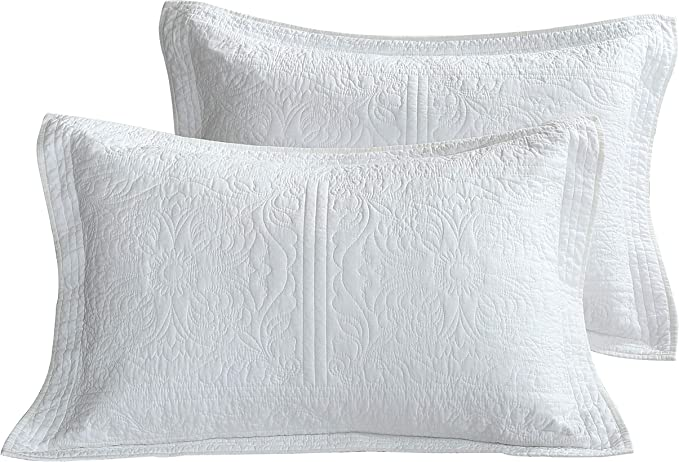 Winlife 100 Cotton Quilted Pillow Sham Floral Printed Pillow Cover White Amazon Ca Home Kitchen