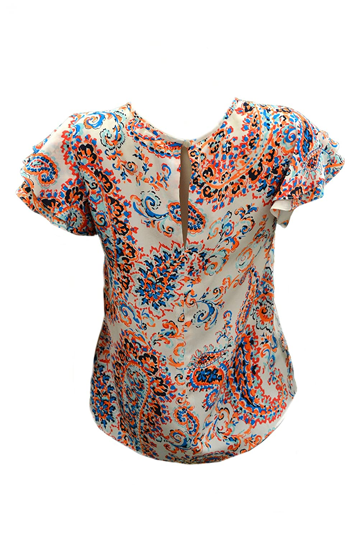 SHOSHANNA Womens LAURA Silk Flutter Short Sleeve Top Sz 2 Ivory/Canteloupe 200619E
