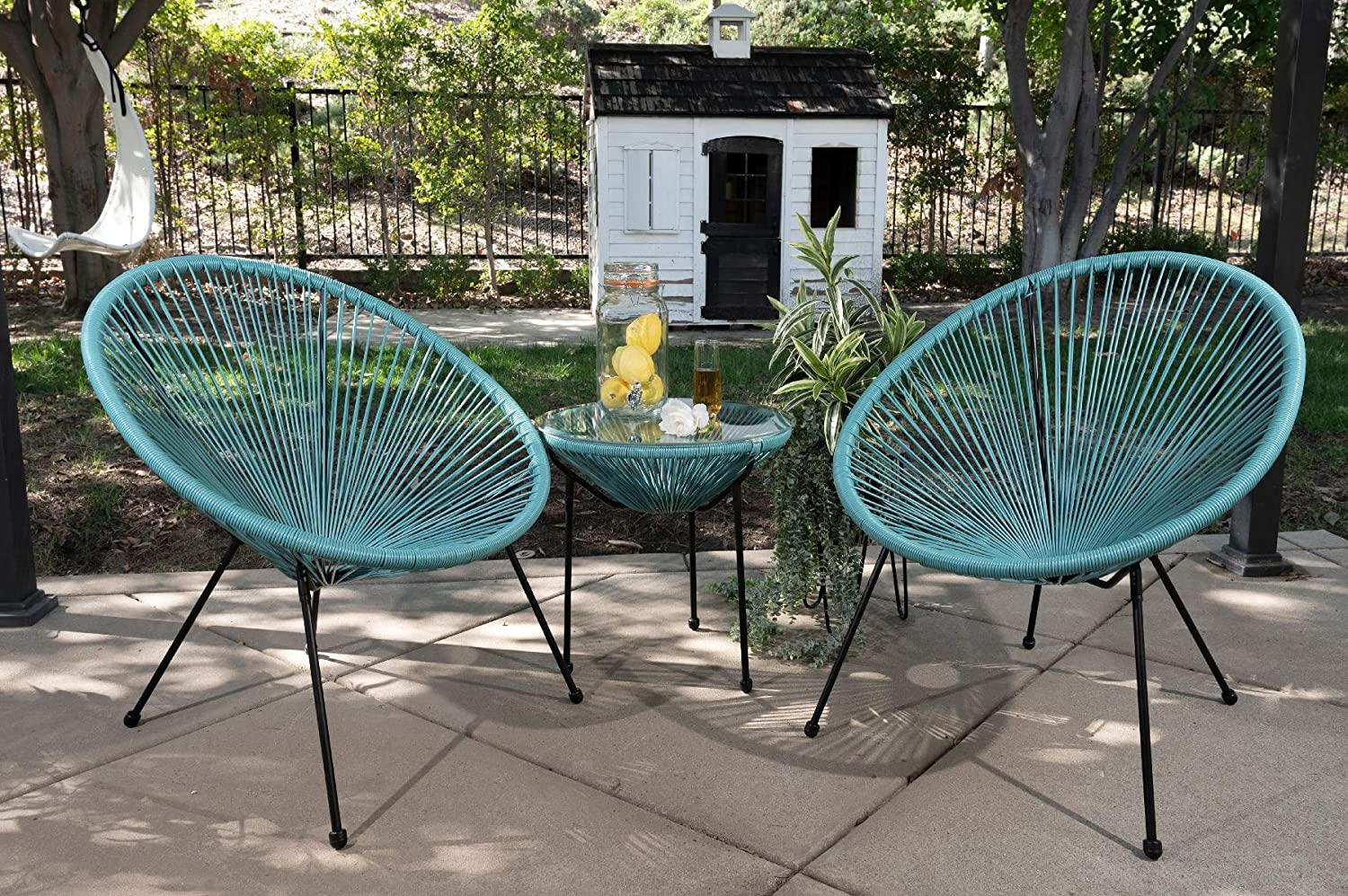 Barton 3-Piece Outdoor Acapulco All-Weather Patio Conversation Bistro Set Glass Top Table and 2 Chairs, Aqua