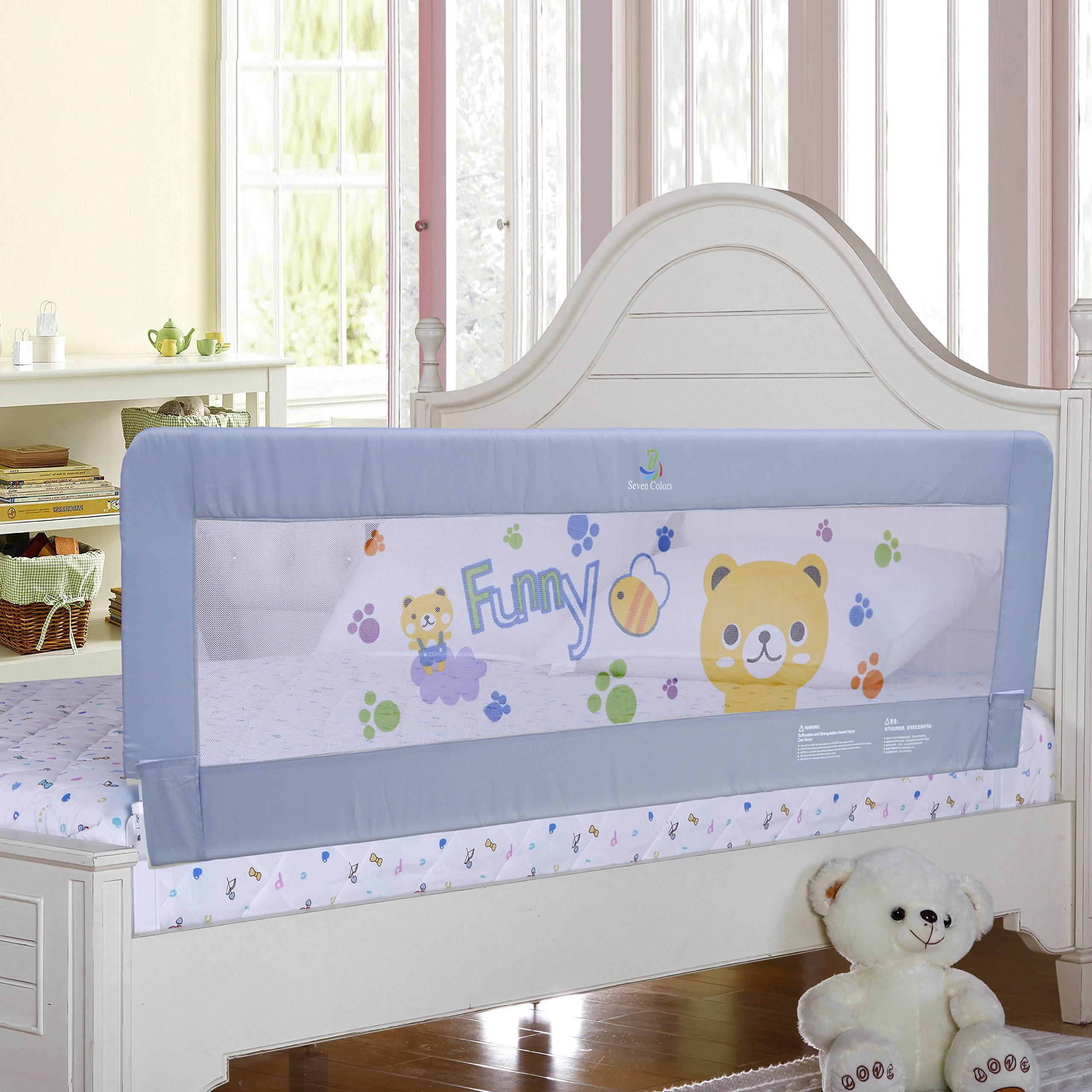 Gray Color Baby Bed Rail Extra Long Bed Guard Safety Bedrail Stop Falling for Kids Fits Toddler to Queen & King Size Bed, All Size (70'' inches)