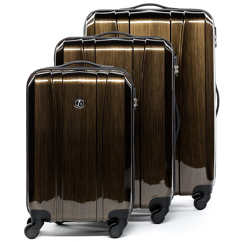 FERGÉ Dreier Kofferset Dijon Trolley-Koffer leicht neu | Set 3-teilig Hartschalenkoffer - 4 Komfortrollen (360°) Hartschale silber