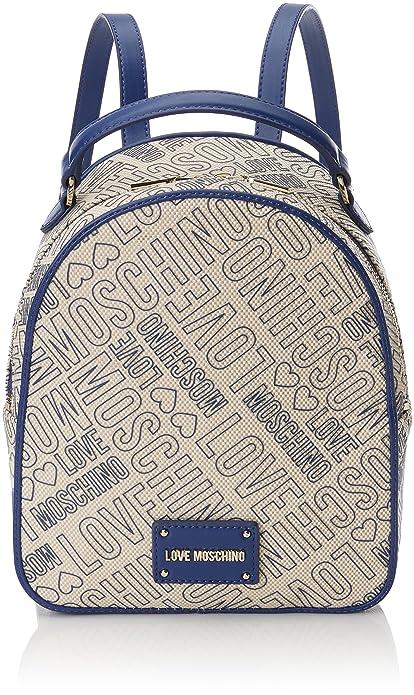 Love Moschino Borsa Canvas Naturale+nappa Pu Blu, Women's Backpack Handbag,  Multicolour (