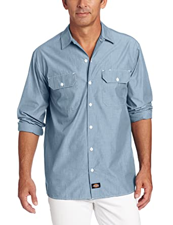 731e569a Dickies Men's Long Sleeve Chambray Shirt