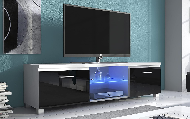 Home innovation – Meuble de télévision LED - Salon-Salle à manger - Blanc Mate et Noir Laqué - Dimensions: 150x 40 x