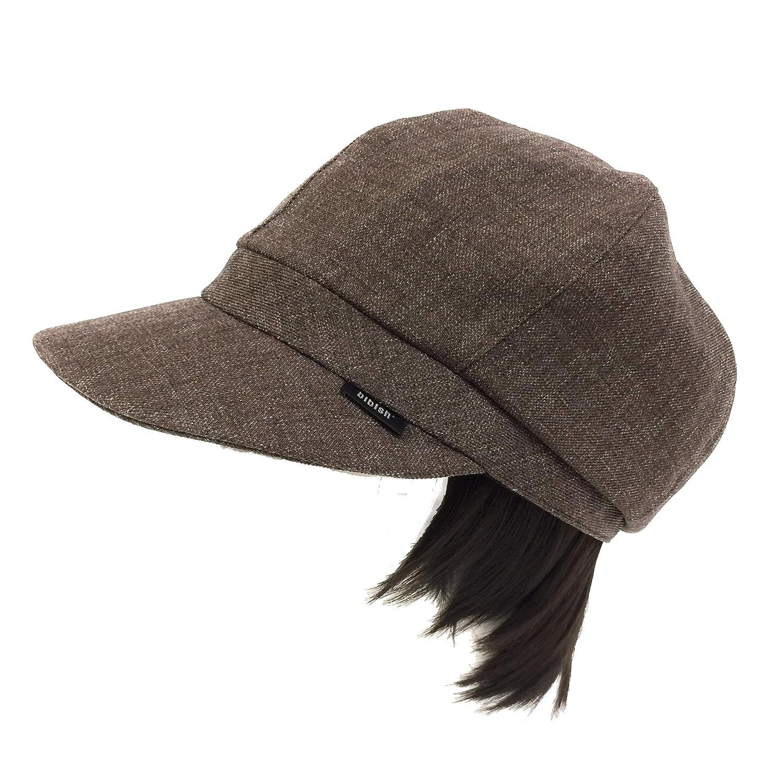 【抗がん剤治療】【毛付き帽子】レイヤーボブwig付き Ladies キャスケット帽子(裏シルク)フリー Cheemo Hat B074QLD53S  ブラウン -
