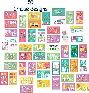 "Motivational Quote Cards - 50 Unique Designs Positive Affirmations Notes - 2"" x 3.5"" Business Card Size Kindness Encouragement Inspirational Gratitude Just Because Appreciation Cards"