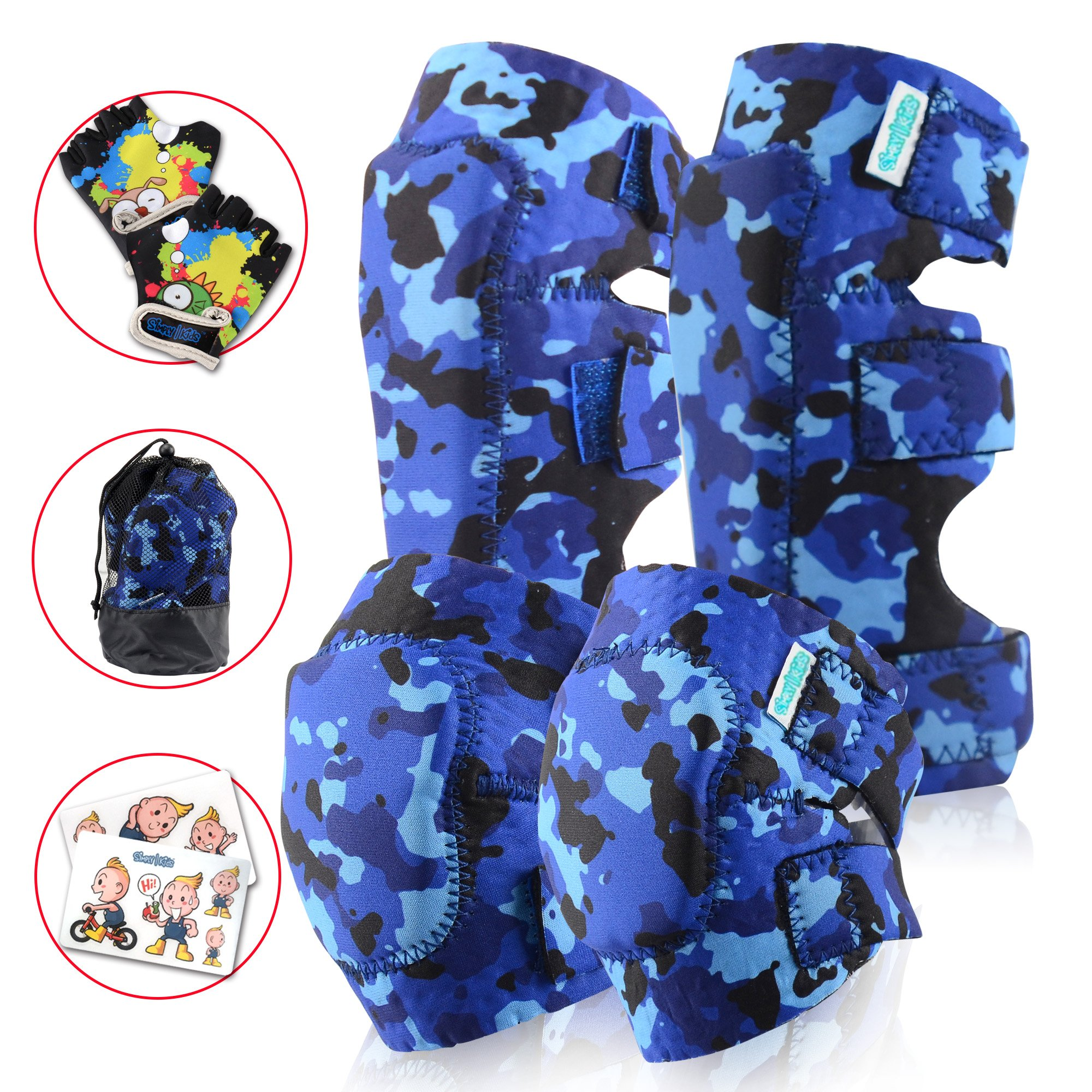 Kids Knee and Elbow Pads Plus Bike Gloves | Toddler Protective Gear Set | Soft Flexible Breathable Safe | Roller Skate, Skateboard, Rollerblade Elbow Knee Pads for Child Boys and Girls (Ocean Camo)