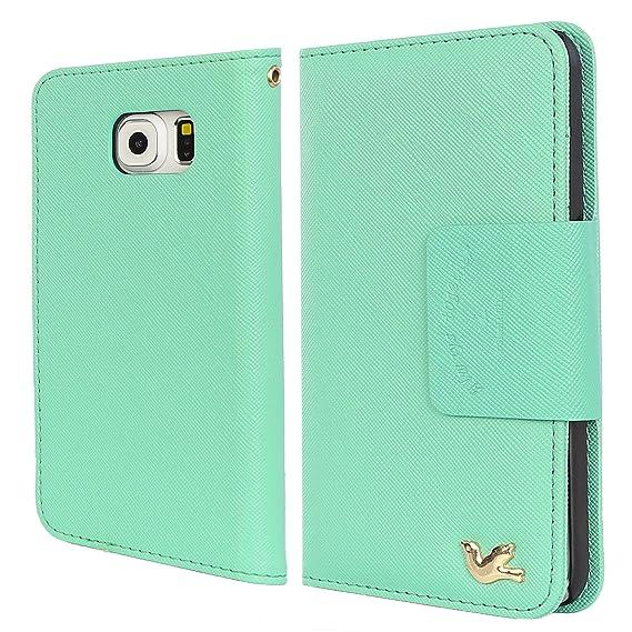 huge discount ff6ca c9d8e HILDA Galaxy S6 Edge Case Samsung Galaxy S6 Edge Wallet Case PU Leather  Case Credit Card Holder Flip Cover Case Mint Green