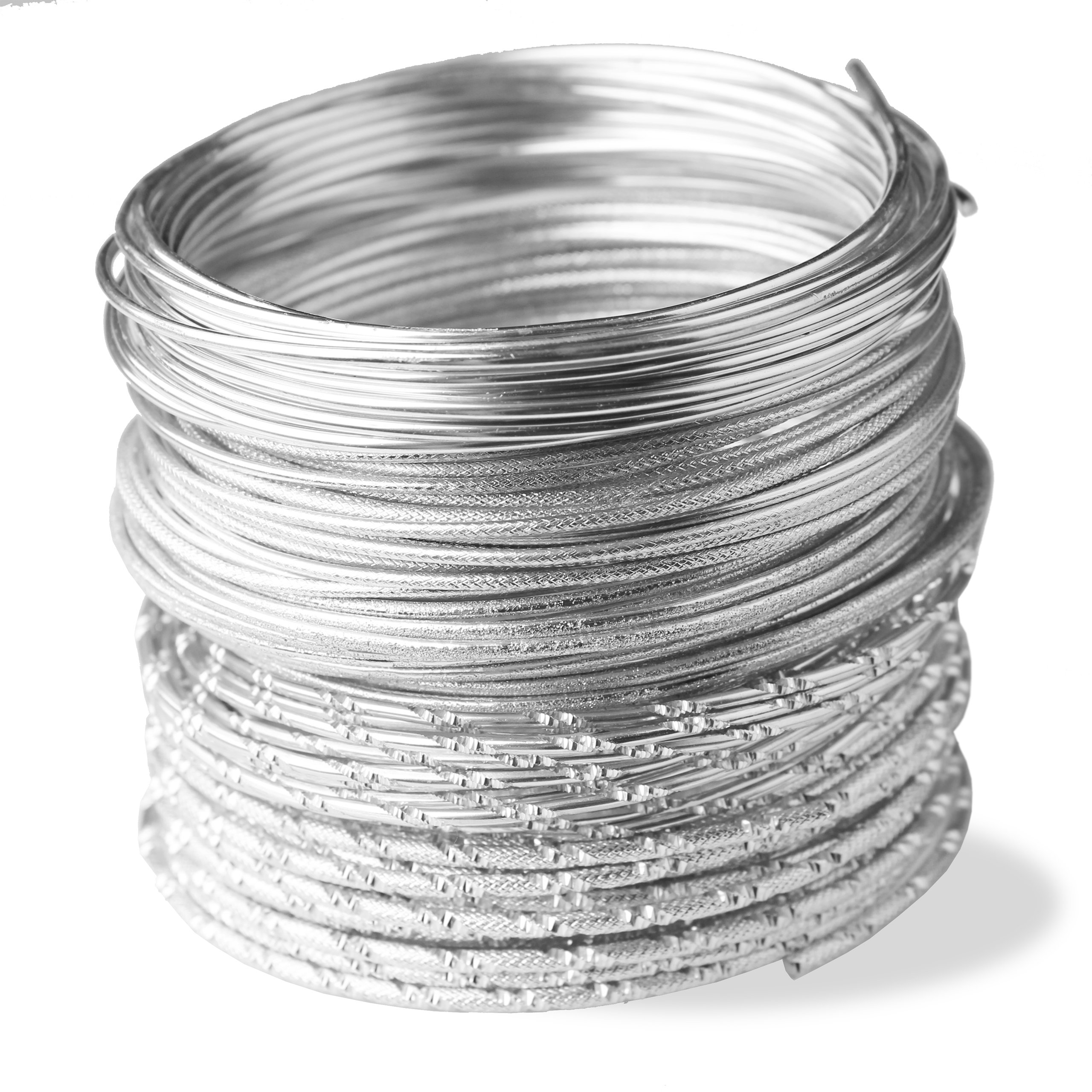 BEADING WIRE SILVER STYLE Set 5 Coils Of Artistic Aluminum Wire For ...