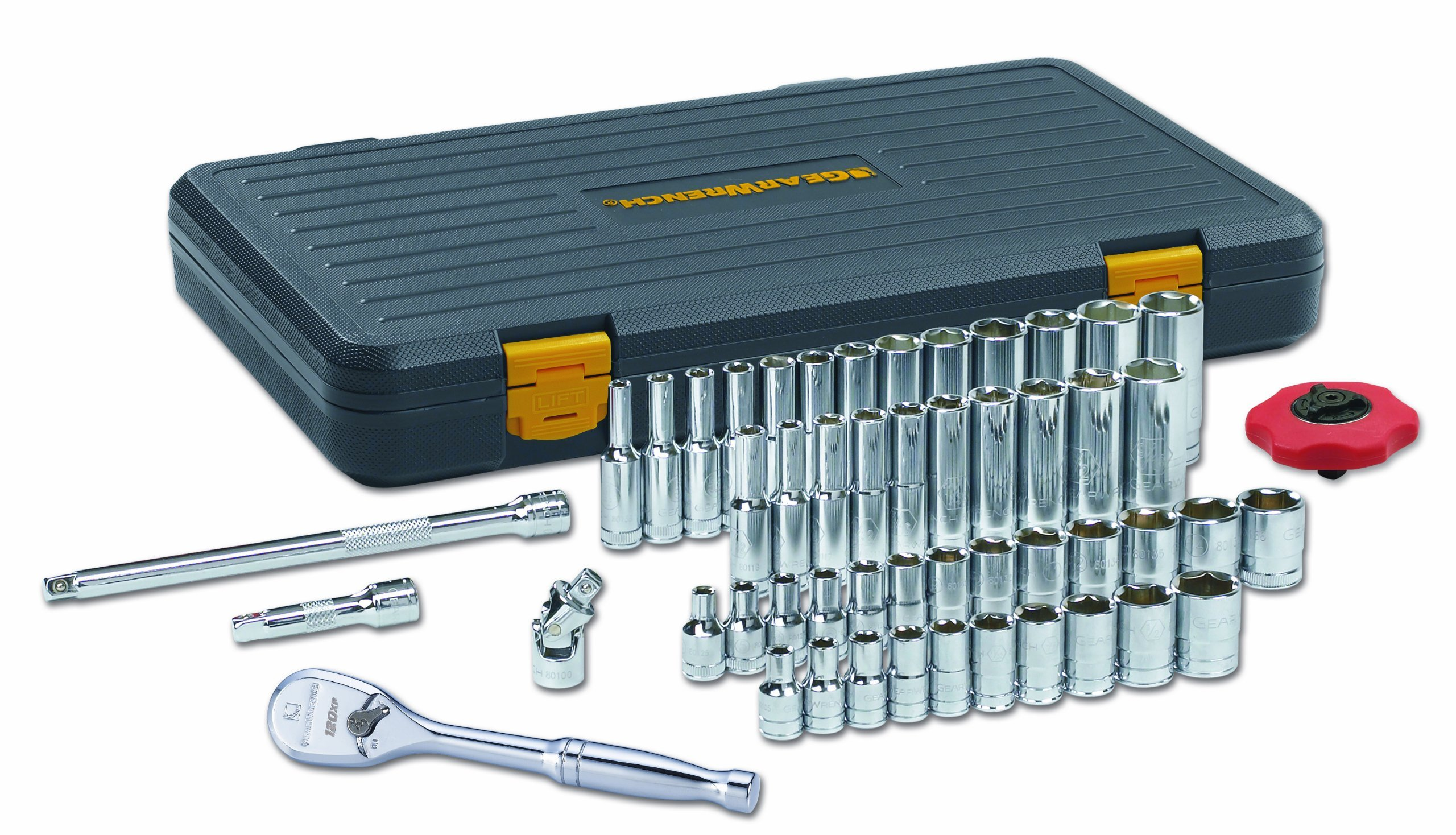 GearWrench 80300P 1/4-Inch Drive SAE/Metric 6 Point Standard and Deep Socket Set, 51-Piece