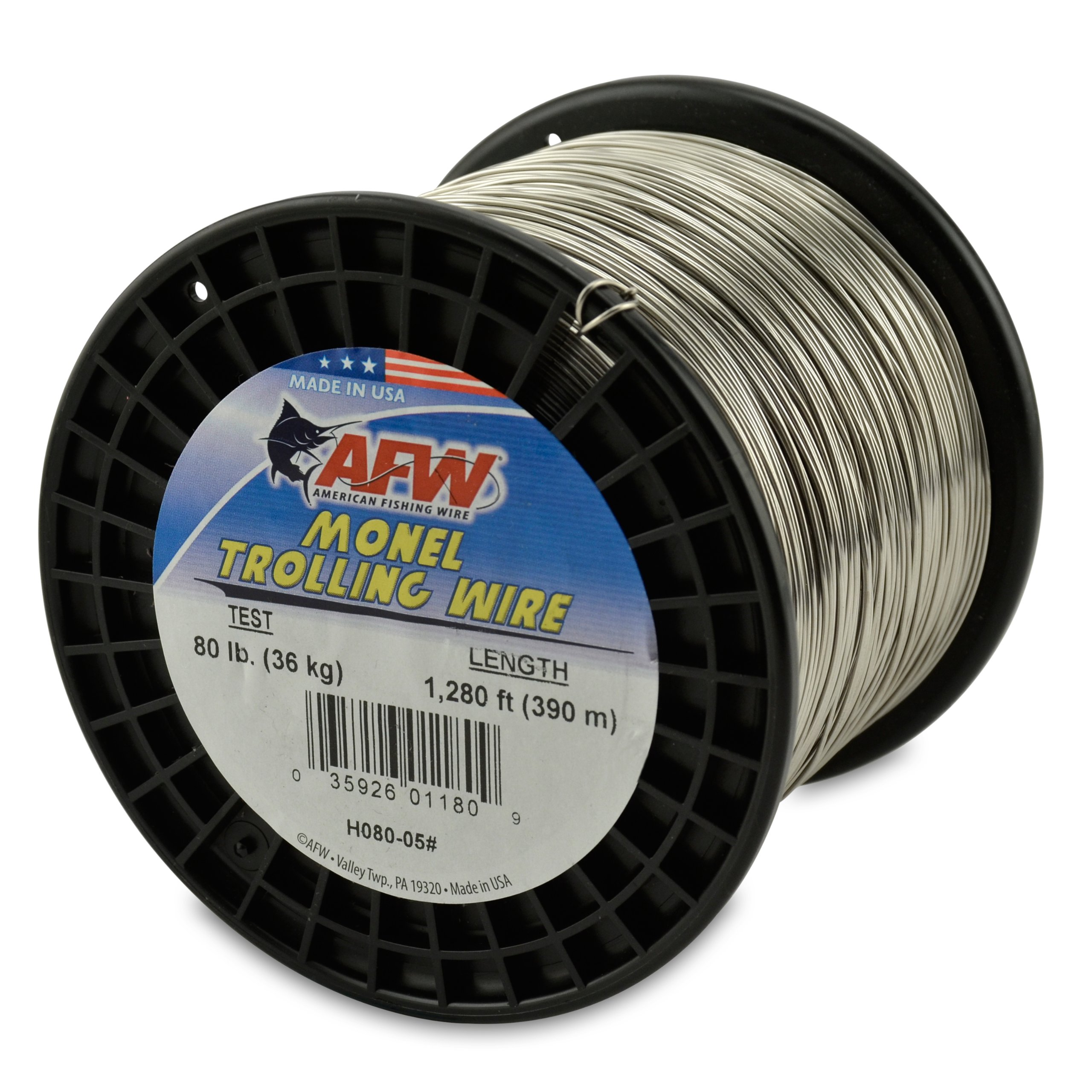 American Fishing Wire Monel Trolling Wire, 80-Pound Test/0.91mm Dia/390m