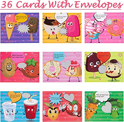 32-Count Valentines Day Cards for Kids School Valentine/'s Parties Gift Exchanges 8 Assorted Designs of Valentines Cards with White Envelops /& Strawberry Scented Stickers for Class Events