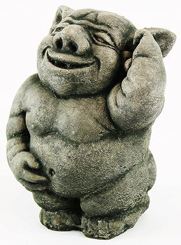 Happy Ogre Statue Troll Figure Home and Garden Statuary Gardener Decor