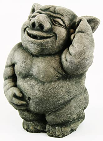 Happy Ogre Concrete Statue Troll Garden Sculpture
