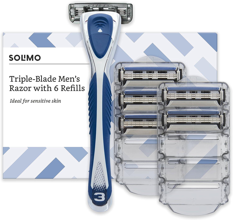 Marca Amazon- Solimo Maquinilla de afeitar de triple hoja para hombre con 6 recambios
