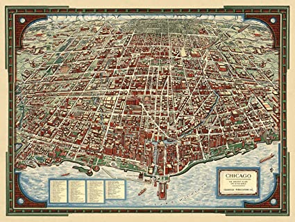 "Amazon.com: Magnet 1930s ""Chicago"" Vintage Style Panoramic Birds-Eye ..."