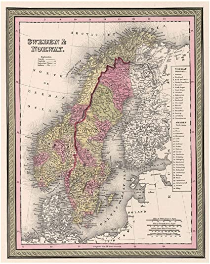 image regarding Scandinavia Map Printable called : Ancient 1849 Mitc Map of Scandinavia