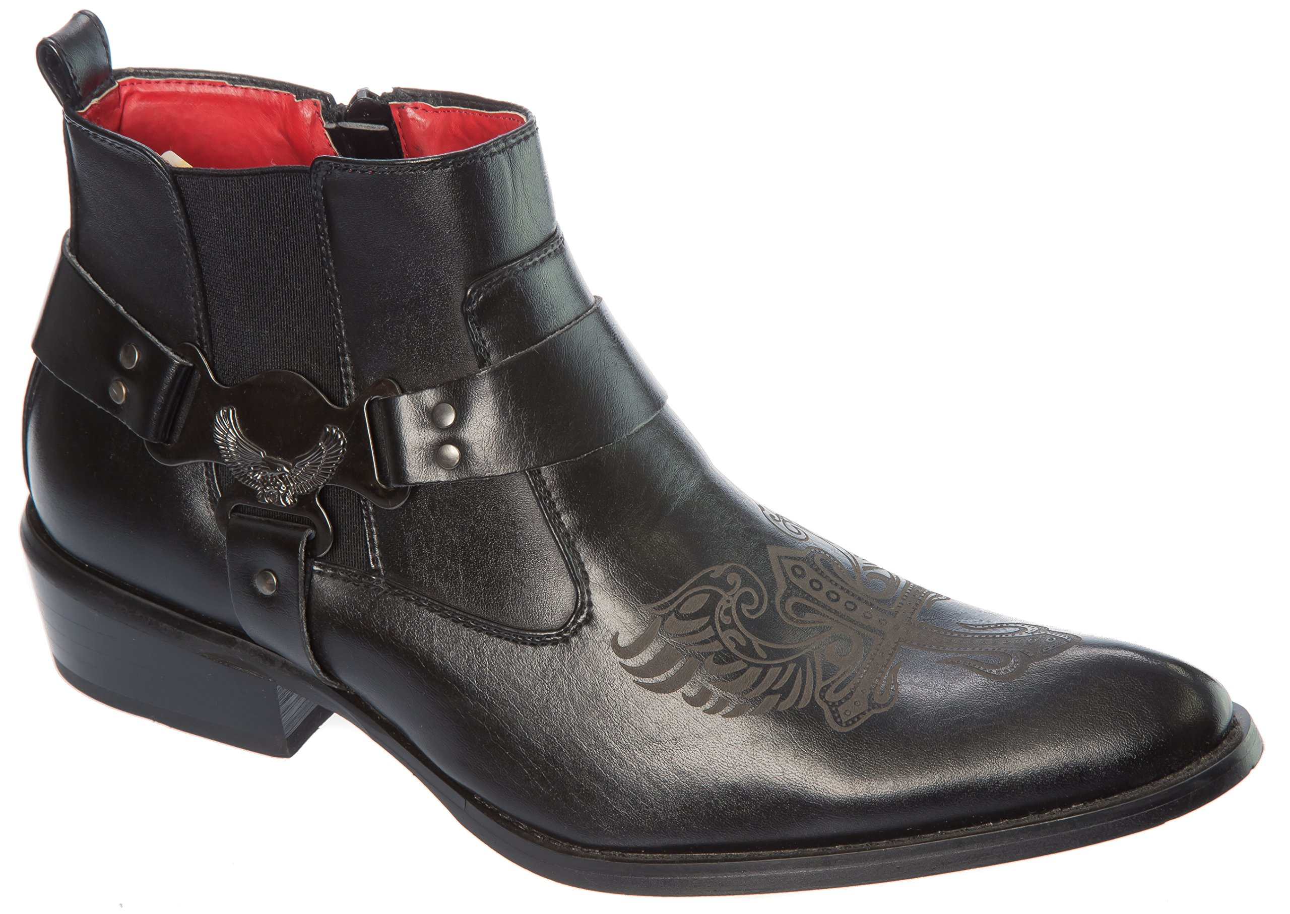 Alfa Size 10 Mens Black Western-Boots Slip On Side Zipper Side Elastic Cowboy Boots