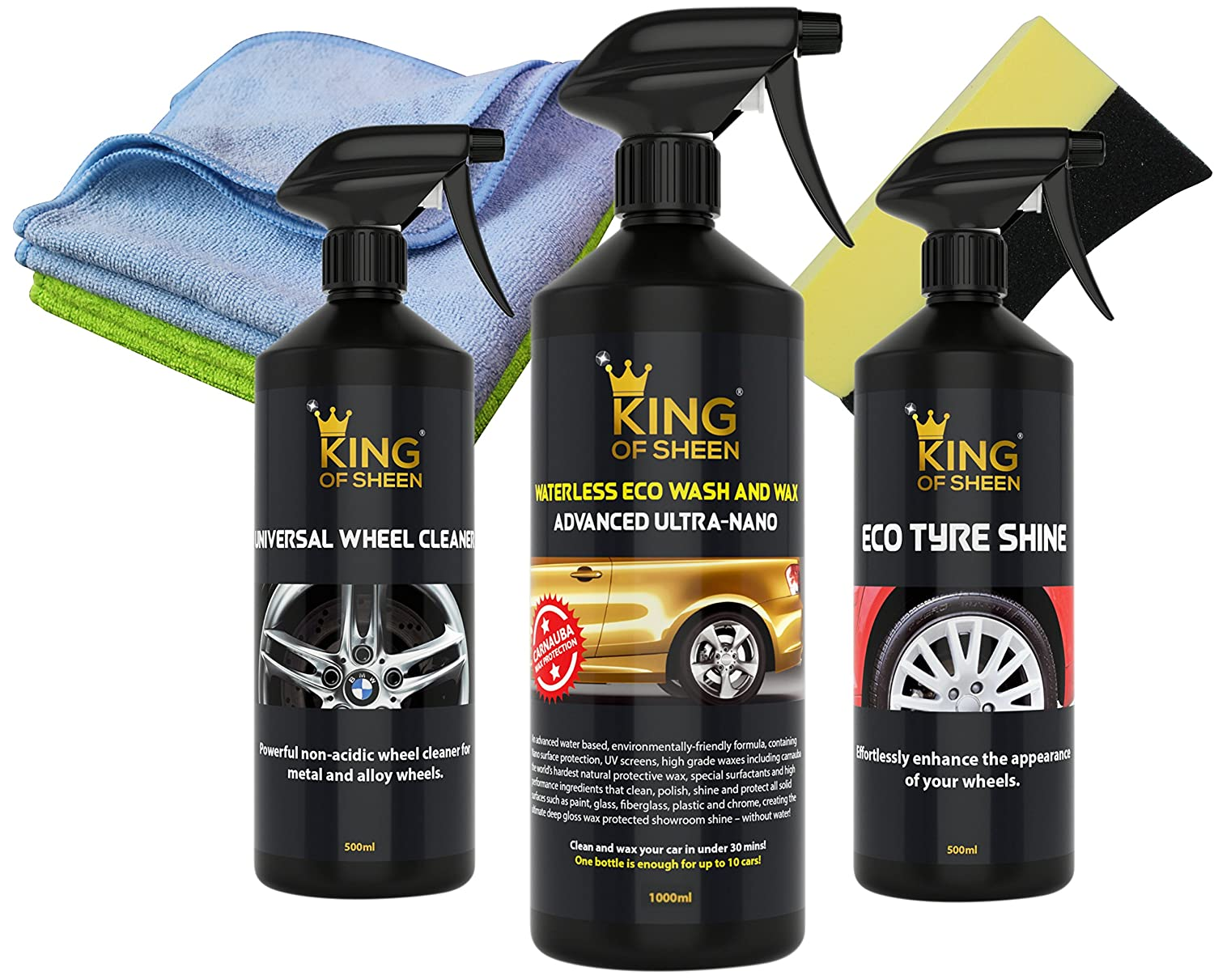 King of Sheen Exterior Car Gifts Kit -Advanced Ultra Nano Waterless Car Cleaner 1lt, Universal Wheel Cleaner 500ml and Eco Tyre Shine 500ml + 2 Proffessional Microfibre Cloths and Tyre Dressing Sponge