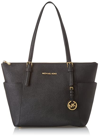 e21f496e14fa MICHAEL Michael Kors Women s Jet Set Item East West Trapeze Tote-Black