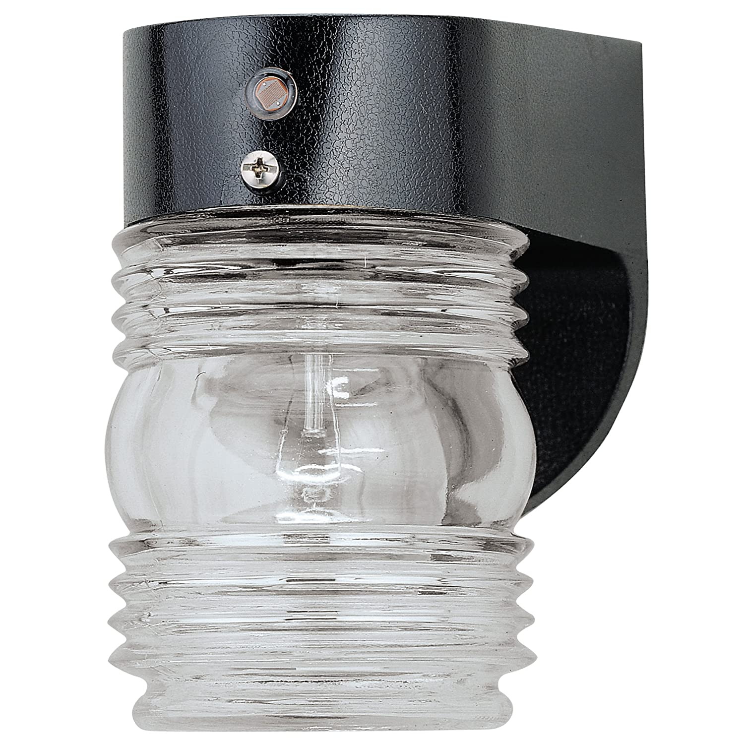 Westinghouse 6694900 One-Light Exterior Jelly Jar Wall Lantern with Dusk to Dawn Sensor, Black Finish on Hi-Impact Polycarbonate with Clear Glass
