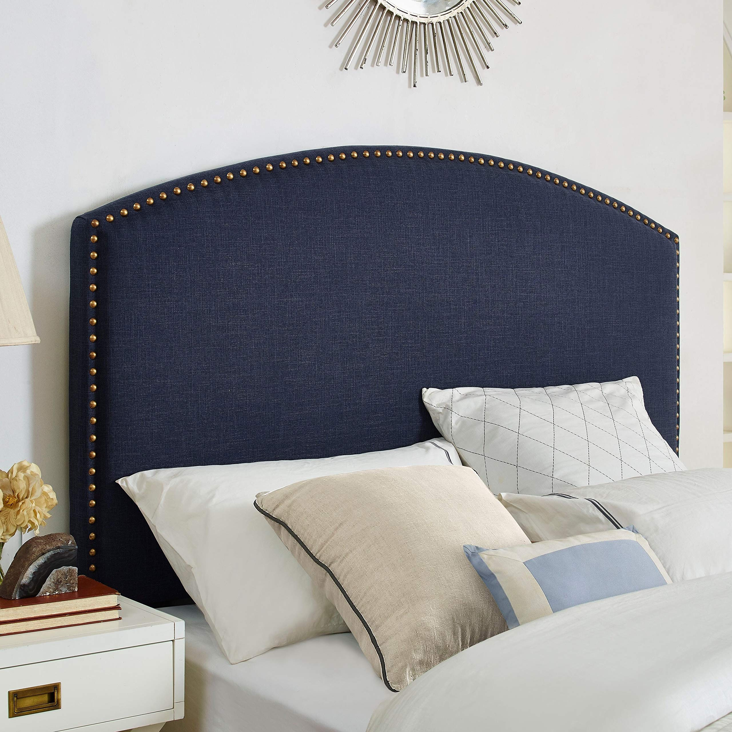 Cassie Curved Upholstered King/Cal King Headboard in Navy Linen Blue Traditional Nailhead by Unknown