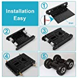 MOUNTAIN_ARK High Power 4WD Smart Car Chassis Kit - Iron Chassis + 4pcs DC 12V Motors + Non Inflatable Rubber tire for Arduino Raspberry Pi DIY Obstacle Avoidance Smart Car 10.6x10.6x4.7inch
