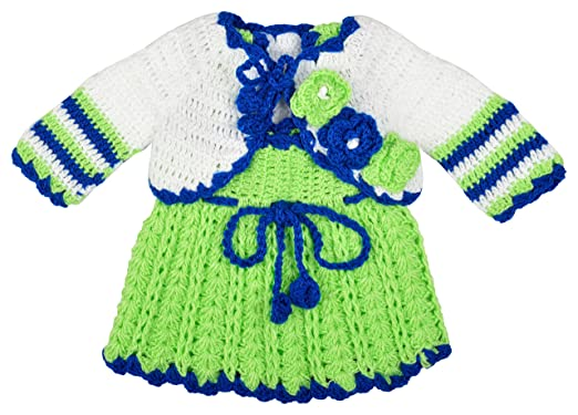 bc940ab89 Kuchipoo Baby Girl Hand Knitted Woolen Frock (Green