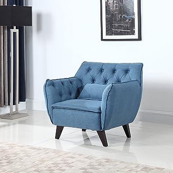 Amazon.Com: Mid Century Modern Tufted Linen Fabric Living Room