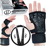 Cross Training Gloves for Man & Woman - Sport Workout Gloves With Wrist Support for Gym - Crossfit Gloves - Weight Lifting Pull Up Hand Grips + Speed Jump Rope Fitness Workout by Titanium Peak