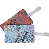 Travelon Set of 2 Luggage Tags, passport Stamps, 4.4x2.5x.25