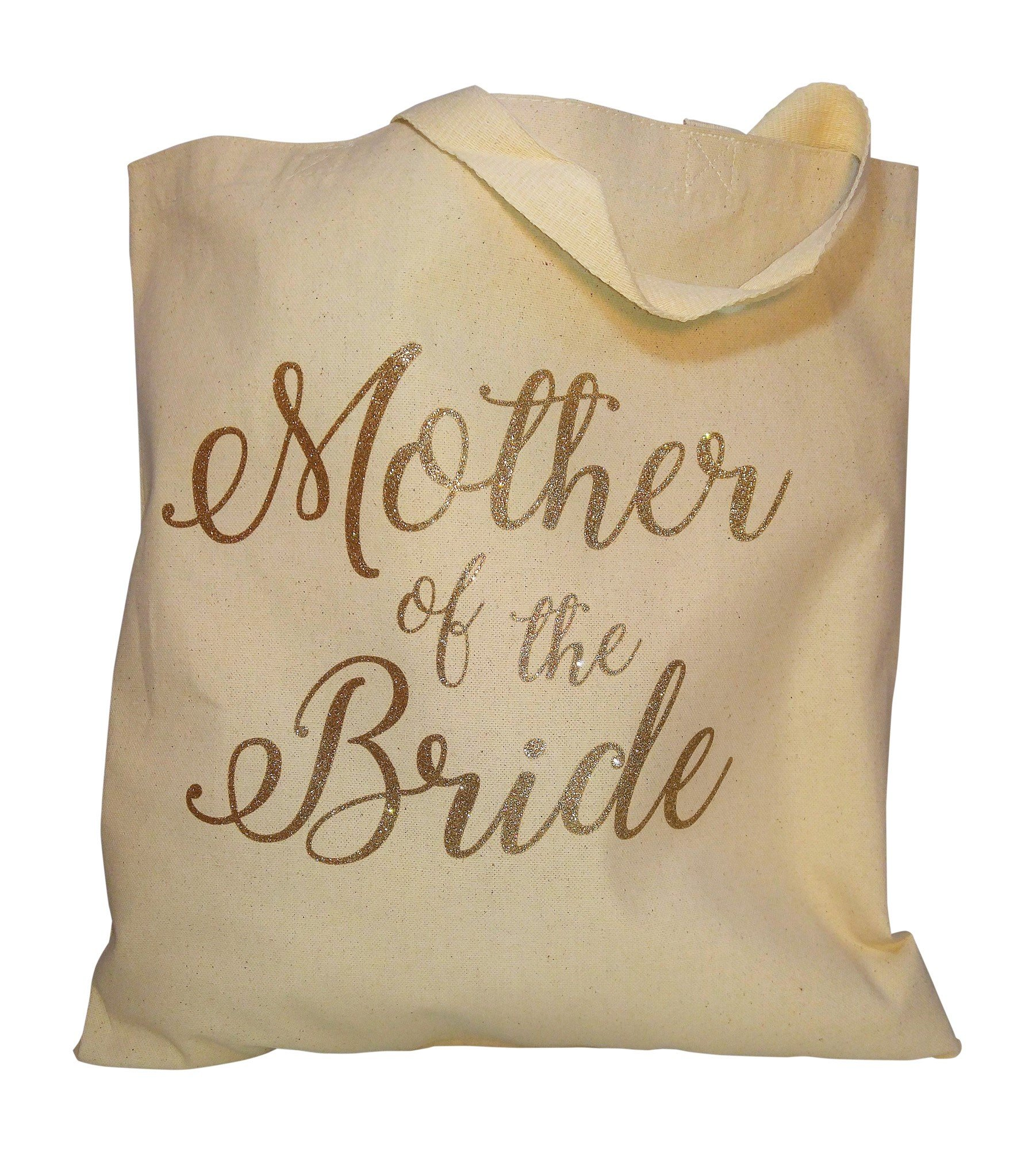 The Spoiled Office Wedding Party Bridal Tote Bag with Gold Lettering - Heavyweight, Large Canvas 15'' x 16'' (Mother of the Bride in Natural)