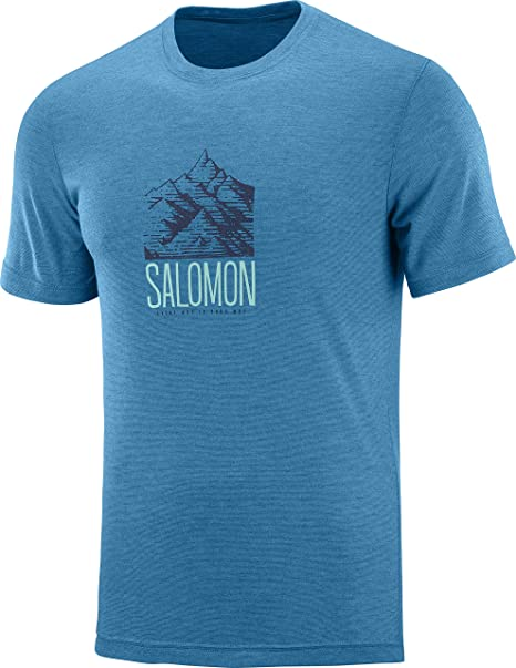 LC1271400 Blue EXPLORE GRAPHIC SS TEE Fjord Blue Polyester Size: 2XL Salomon Mens Short Sleeved T-shirt
