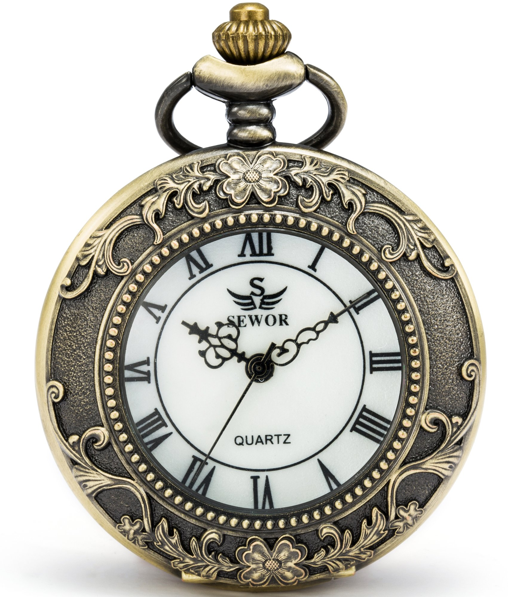 SEWOR Quartz Pocket Watch Shell Dial Magnifier Case with Two Type Chain (Leather+Metal) (Bronze) by SEWOR