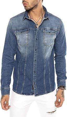 Camisa de Jeans Vaquera Denim para Hombre Manga Larga Azul: Amazon.es: Ropa y accesorios