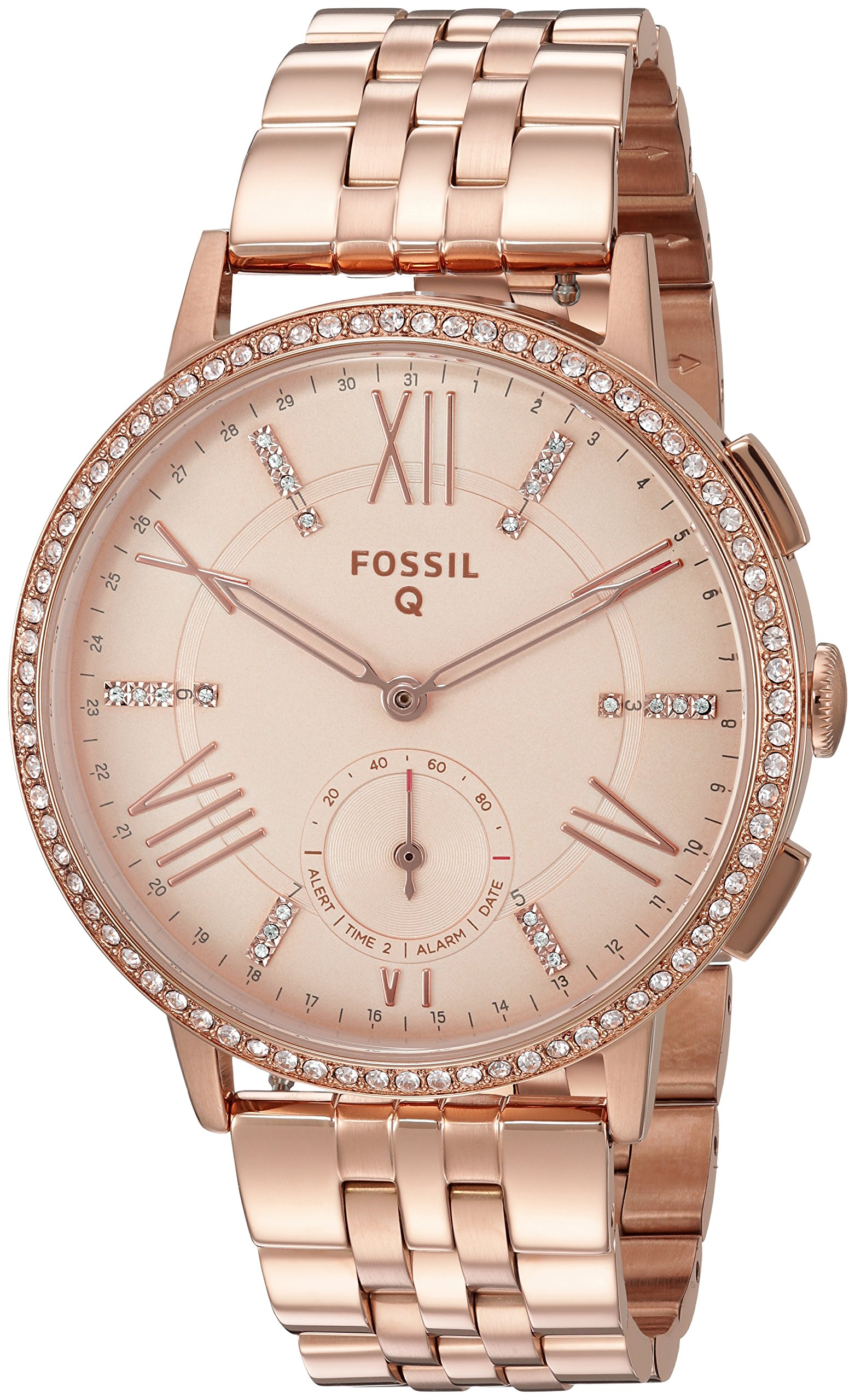 Fossil 'Q GAZER' Processor Stainless Steel Smart Watch, Color:Rose Gold-Toned (Model: FTW1106)