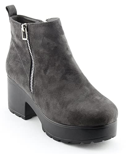 Women's Pull On Side Zip up Platform Ankle Boots