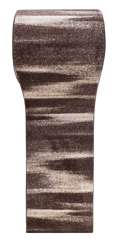 Tapiso LÄUFER MODERN BRÜCKE Flur Teppich - Muster Streifen MELIERT BRAUN - Calm Kollektion 80 x 300 cm
