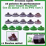 16 pointes de performance + un boulon metal pour toupies beyblade