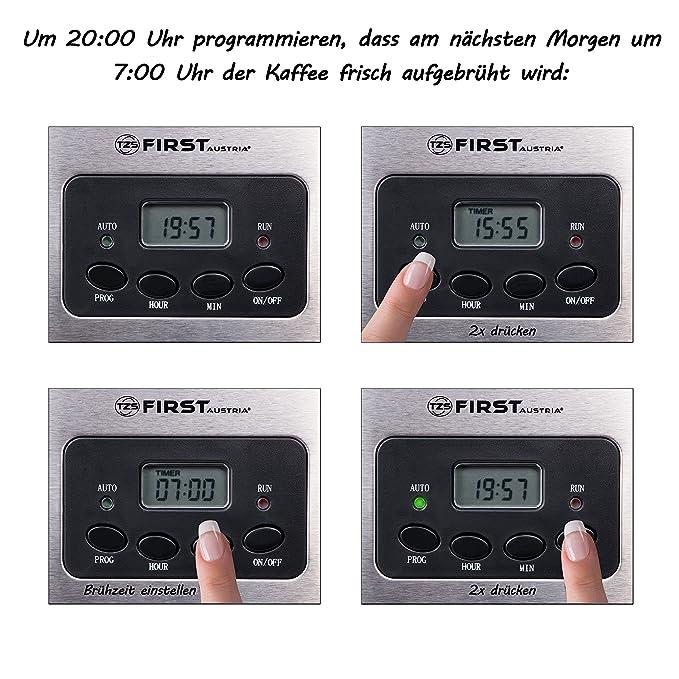Cafetera de filtro para 12 tazas con temporizador de hasta 24 h | Máquina de café | Placa de mantenimiento de calor hasta 45 min | Display LCD con ...