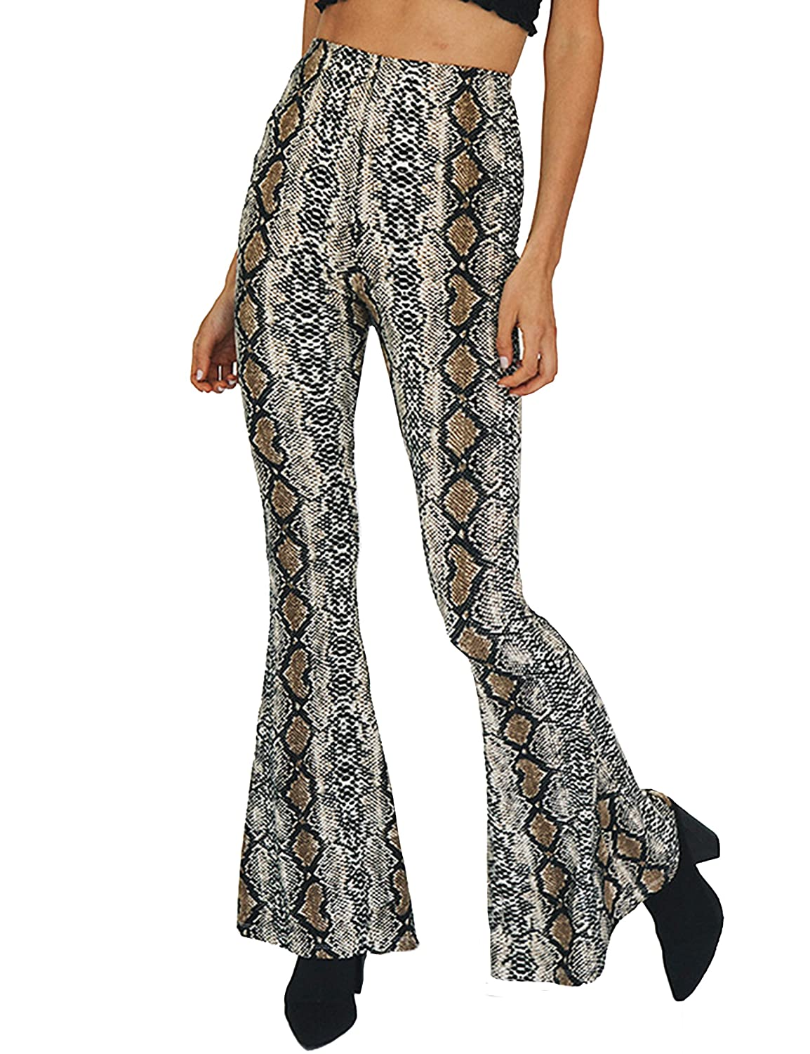 Amazon.com: LAUWEE Womens Stylish Snakeskin Print Bell Bottom Pants Slim Fit High Waist Pants: Clothing