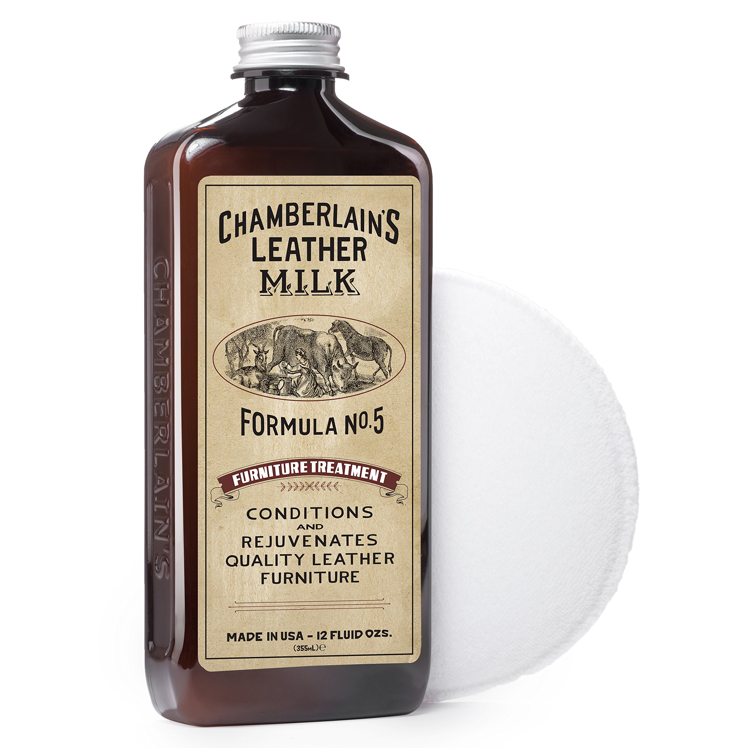 Leather Milk Leather Furniture Cleaner & Conditioner Kit (2 Bottle Furniture Care Set) - Straight Cleaner No. 2 + Furniture Treatment No. 5 - All Natural, Non-Toxic. Made in USA. W/ 2 Restoration Pads by Chamberlain's Leather Milk (Image #1)