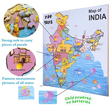 India Map With All States.Buy Wooden Map Educational Wooden Indian Map Puzzles With