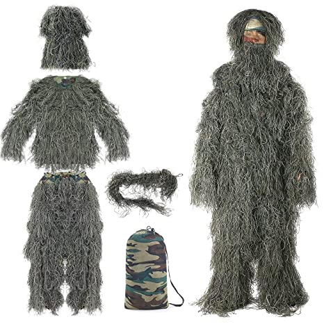 78ce35335b51f Eamber Ghillie Suit 3D Camo Camouflage Hunting Apparel Clothing for  Halloween Party Costume, Jungle Hunting, Shooting, Airsoft for Unisex  Adults/Kids/Youth