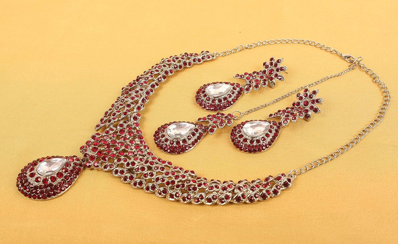 Touchstone White Indian Bollywood White Rhines s atemberaubende Brautschmuck Halskette f/ür Damen