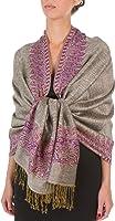 Sakkas 70 x 28-Inch Border Pattern Layered Woven Pashmina Shawl Scarf Wrap Stole