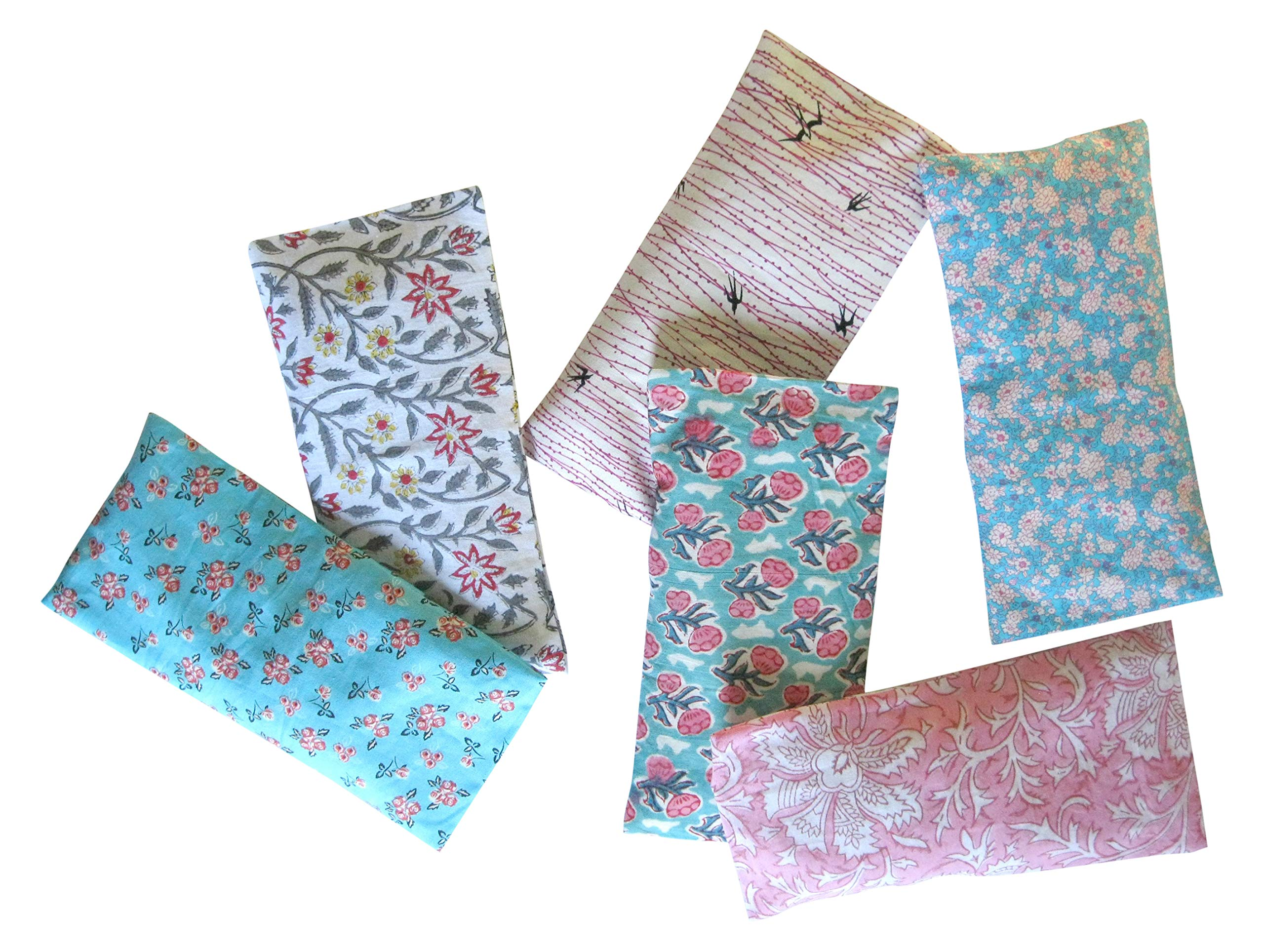 Peacegoods Aromatherapy Yoga Eye Pillow - Pack of (6) - 4.5 x 9 - Organic Lavender Chamomile Flax - Washable Cover Cotton - bulk - teal green magenta pink purple flowers leaves turquoise block print