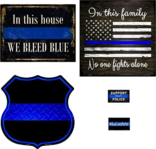"""We Back The Blue 11/"""" Highway Shield Metal Sign Police Law Enforcement Wall Decor"""