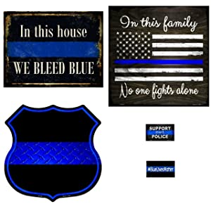 Bundle: Police Wall Decor Metal Signs - We Bleed Blue, in This Family, Thin Blue Line Highway Shield, Support Our Police Magnet & Blue Lives Matter Magnet