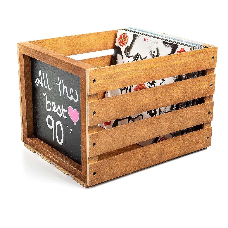 Caja de Almacenamiento de Discos de Vinilo de Madera, bolígrafo de Tiza y Pizarra incluida - Caja de exhibición de Discos de Madera - Organizador de álbum Adulto Pop: Amazon.es: Electrónica